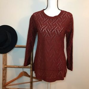 Banana Republic Rust Geometric Pattern Sweater